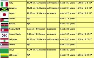 lungimea medie a penisului european